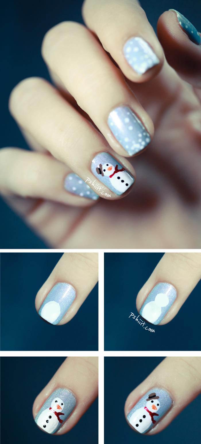20 fabulous and easy diy christmas nail art design tutorials frosty the snowman nail art tutorial prinsesfo Images