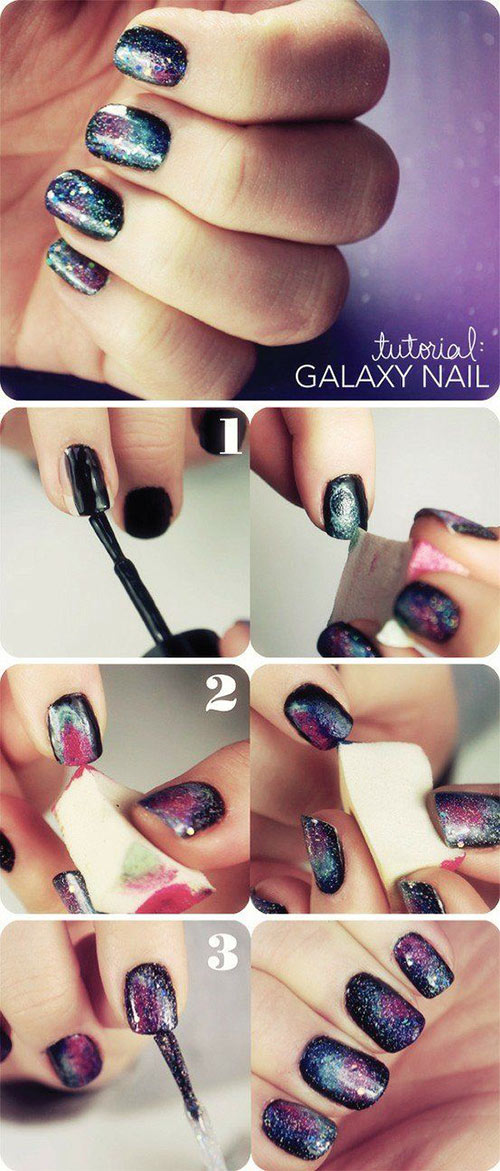 How to do nail art at home top 10 tutorials for 2018 galaxy nails solutioingenieria Images