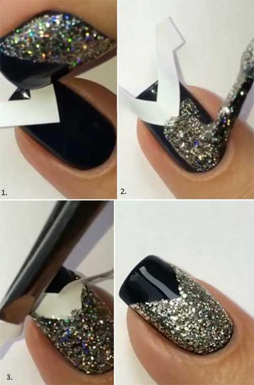Glitter V-Tip Nail Art Tutorial