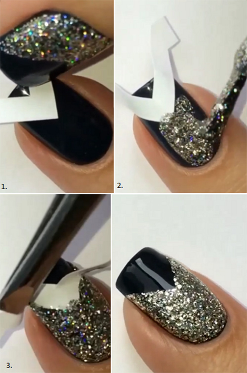 How to do nail art at home top 10 tutorials for 2018 glitter v tip nail art tutorial solutioingenieria Images