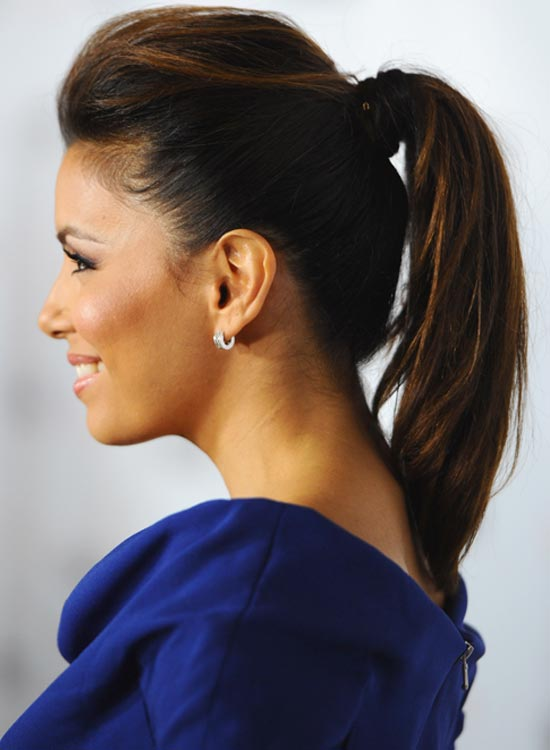 Hair-Wrapped Layered Ponytail with Pouf and Gentle Waves