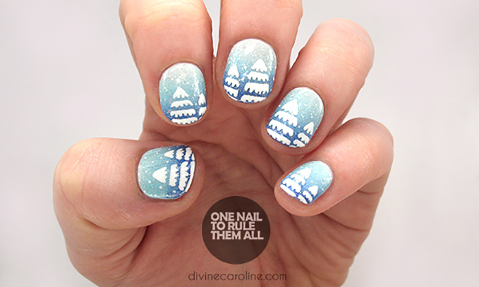 Icy Trees Nail Art For Christmas