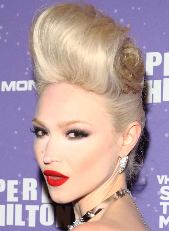 Light-Natural-Blonde-Updo-with-Highly-Volumized-Top
