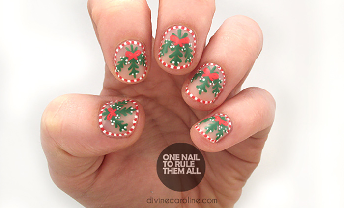 Christmas Nail Designs - Mistletoed Up Nail Art