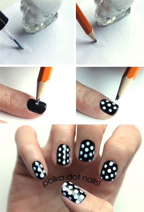 How to do nail art at home top 10 tutorials for 2018 monochrome polka dots nail art tutorial prinsesfo Choice Image