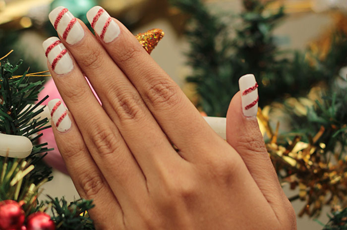 Of Glitter And Stripes Nail Art For Christmas