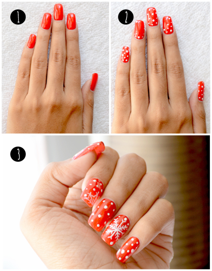 Red And White Christmas Nail Art Tutorial - Infograhic
