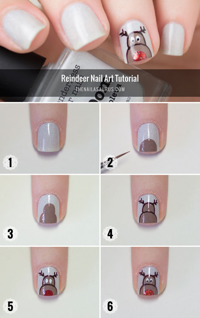 Rudolph The Red Nosed Reindeer Nail Art Tutorial