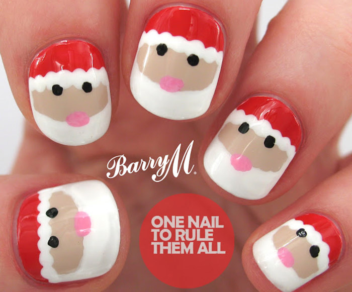 20 fabulous and easy diy christmas nail art design tutorials christmas nail designs santa nail art prinsesfo Choice Image