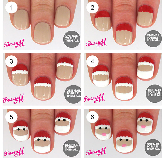 Santa Nail Art Tutorial - Infographic