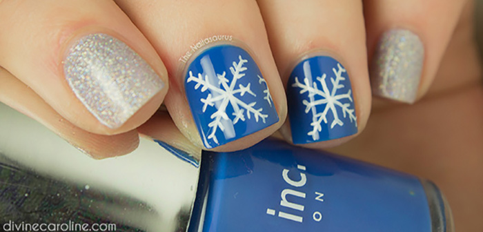 Silver And Snowflakes Nail Art