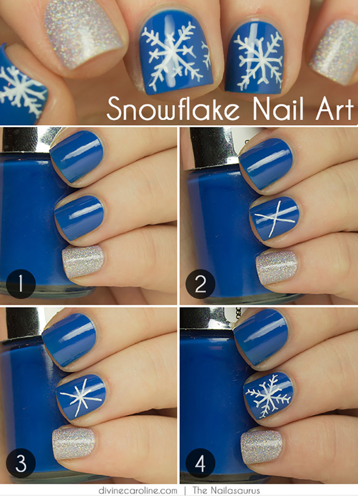 20 fabulous and easy diy christmas nail art design tutorials how to apply silver and snowflakes nail design tutorial prinsesfo Images