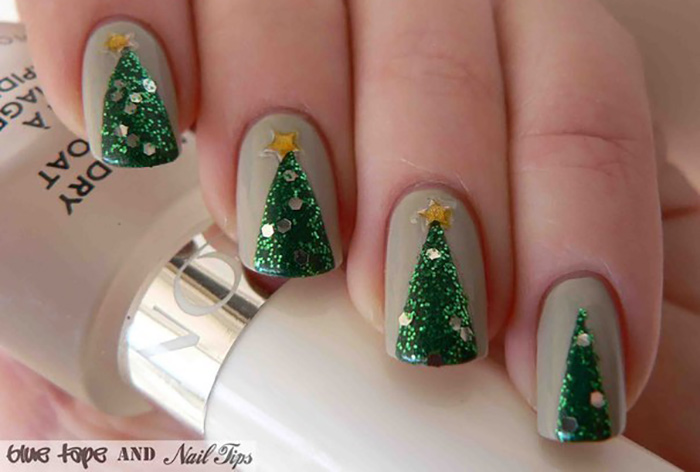 20 fabulous and easy diy christmas nail art design tutorials sparkly pine trees nail art for christmas prinsesfo Image collections
