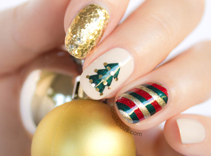 the colors of christmas nail art