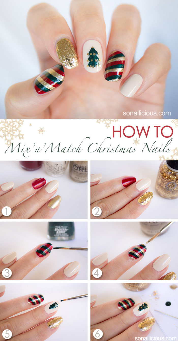 20 fabulous and easy diy christmas nail art design tutorials the colors of christmas nail art tutorial prinsesfo Choice Image