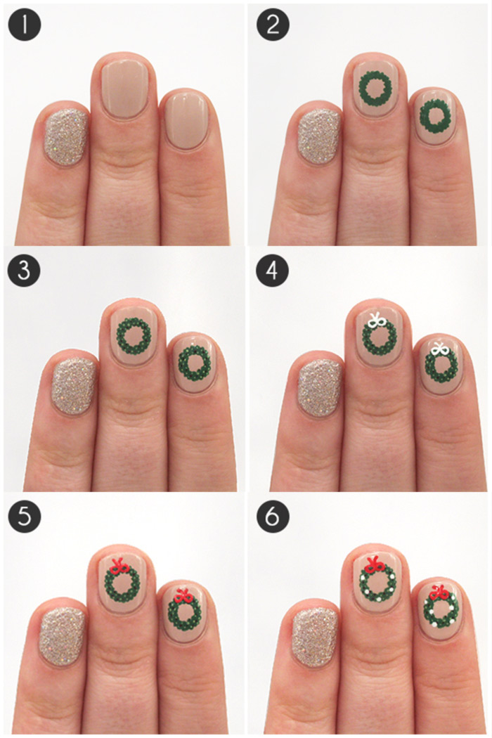 20 fabulous and easy diy christmas nail art design tutorials how to apply wreath nail art tutorial prinsesfo Image collections