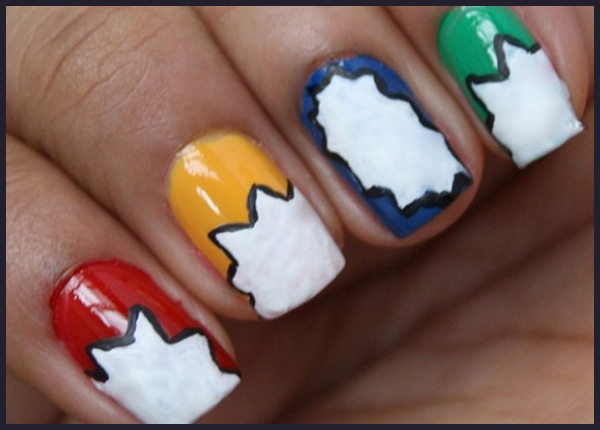 Simple nail art design step by step process for creating comic creative nail art 2 prinsesfo Choice Image