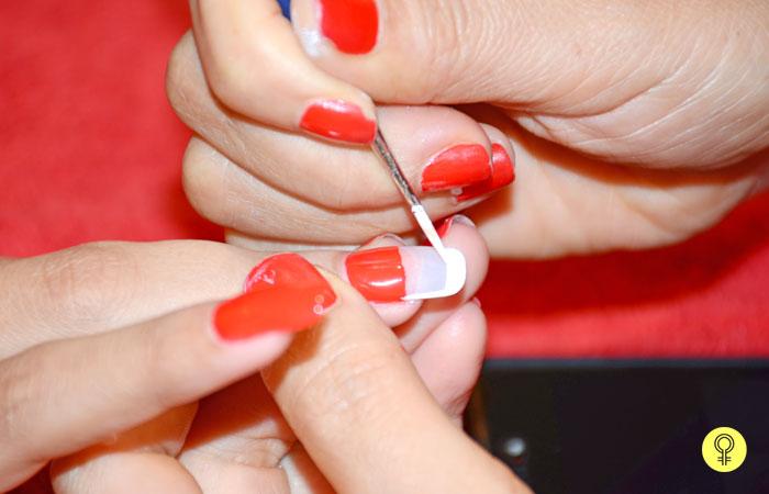 nail art brush and gently start