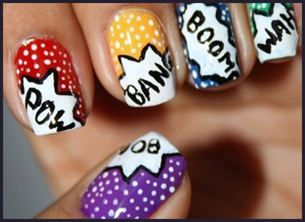 Simple Nail Art Design Step By Step Process For Creating Comic Pop Art