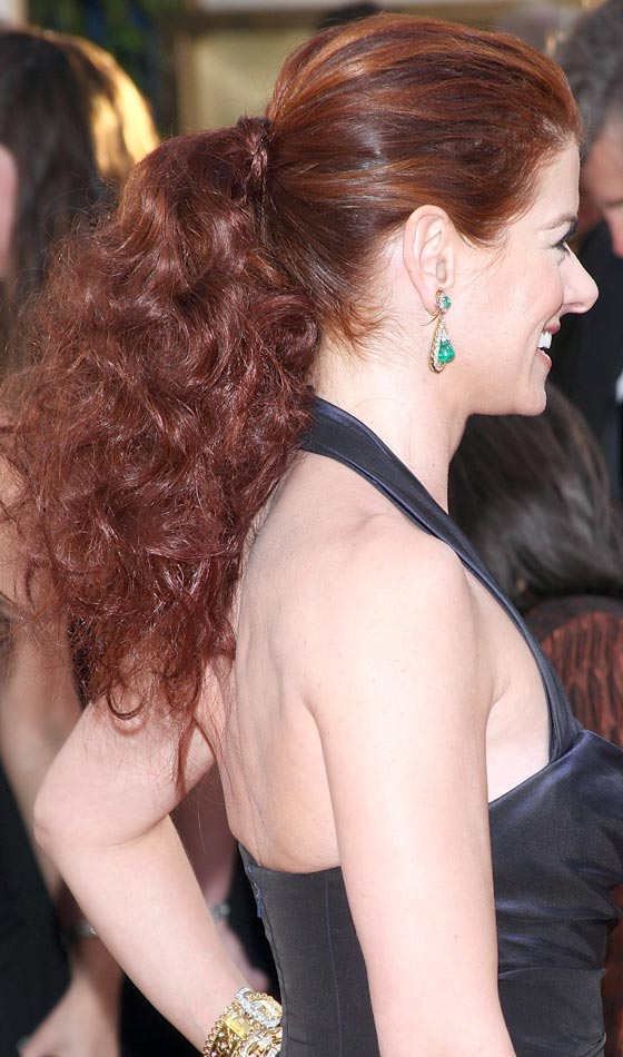 Teased Back Tied Curly Ponytail