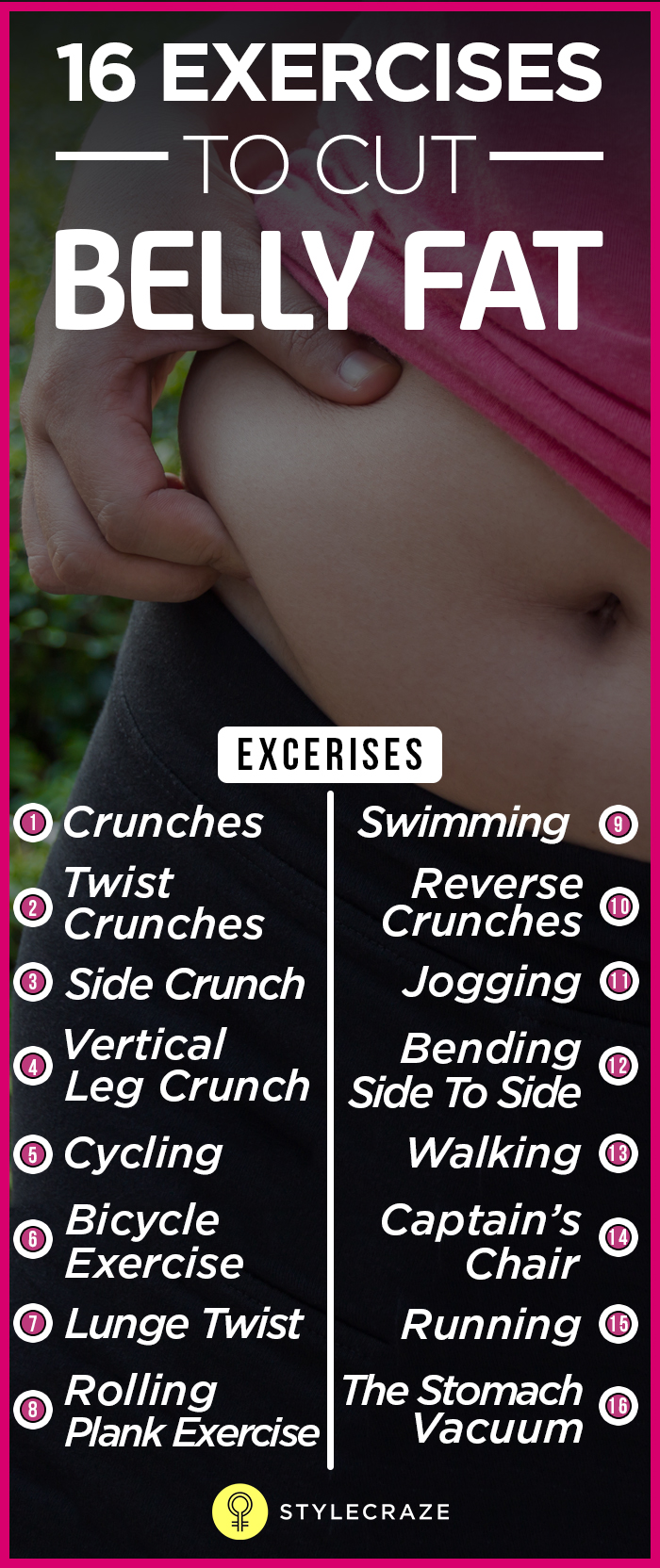 16 Exercises to cut Belly Fat 001