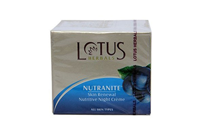 4. Lotus Herbal Nutranite Skin Renewal Nutritive Night Cream
