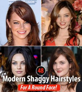 48 Modern Shaggy Hairstyles For A Round Face