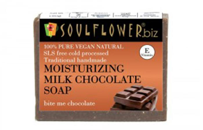 8. Soulflower Moisturizing Milk Chocolate Soap