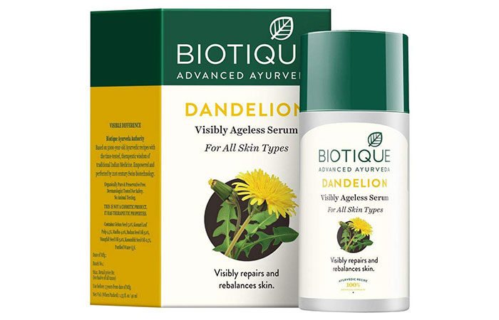 Biotique Bio Dandelion Visibly Ageless Serum - Best Fairness Creams For Oily Skin