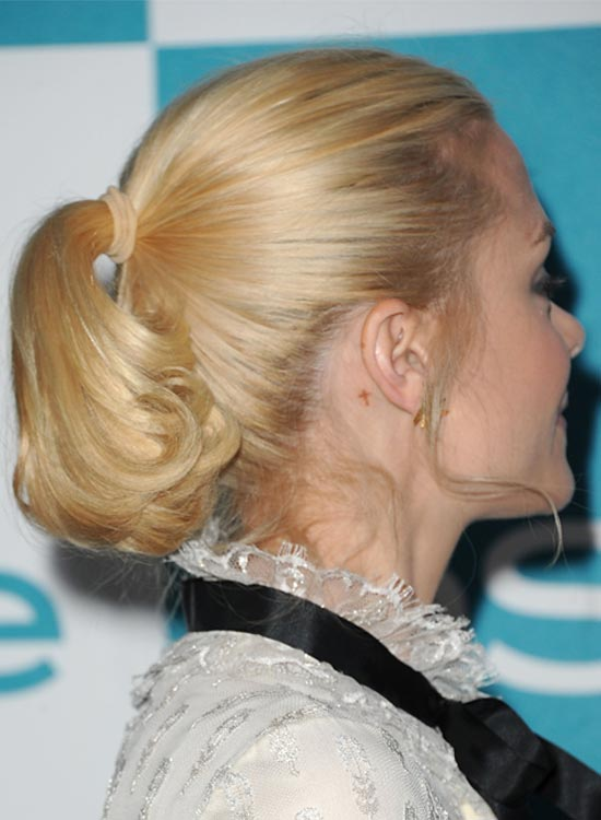 Blonde Short High Ponytail with Tender Bangs
