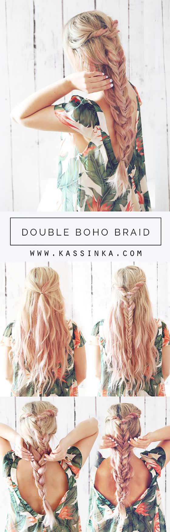 40 braided hairstyles for long hair double boho braid urmus Gallery