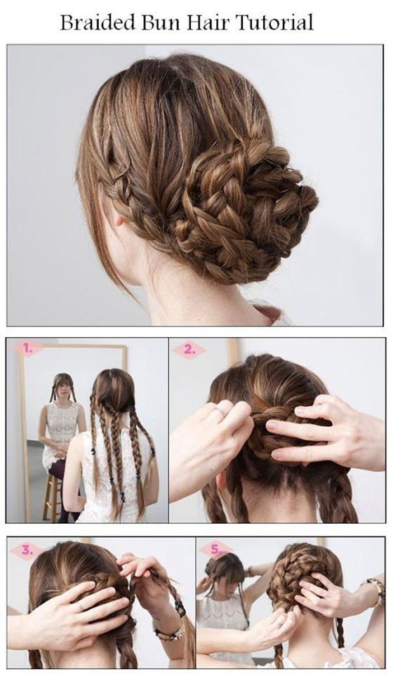 40 braided hairstyles for long hair five braids bun urmus Gallery