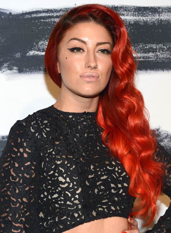 Flame-Red-Waves-in-a-Side-Part