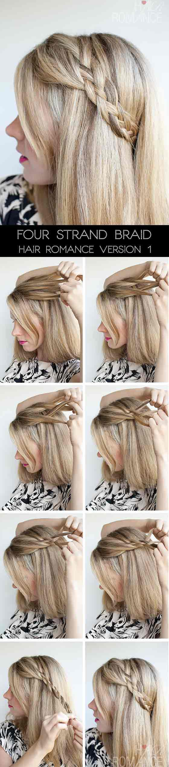 40 braided hairstyles for long hair four strand accent braid solutioingenieria Images