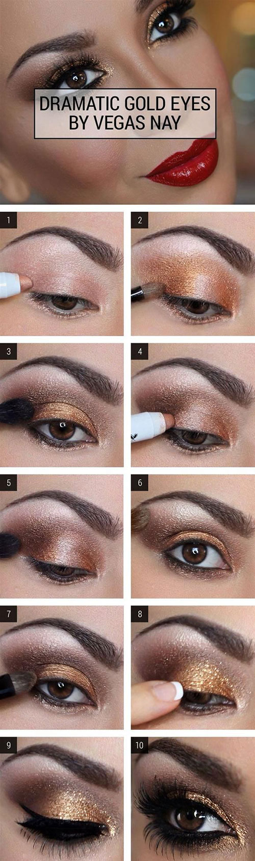 How to do smokey eye makeup top 10 tutorial pictures for 2018 gold smokey eye makeuptutorial baditri Images