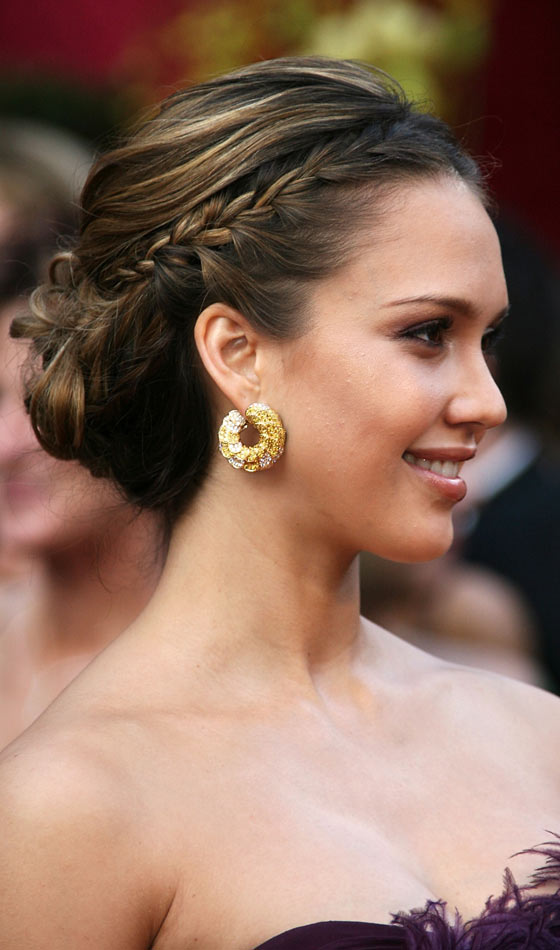 Jessica Alba's Side Braided Chignon