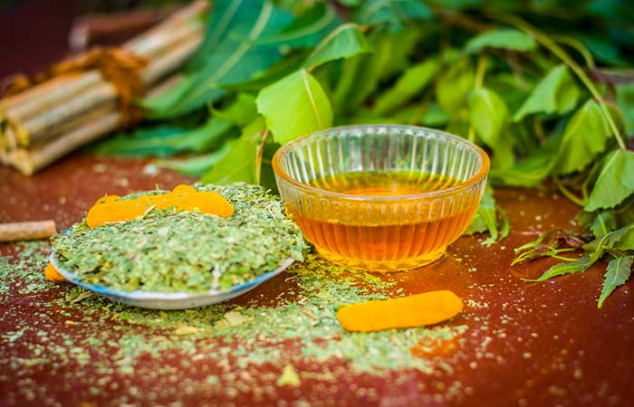 Neem, Tulsi, And Turmeric Face Pack