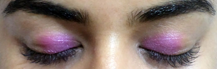 Purple Eye Makeup -  Apply Bright Pink Color