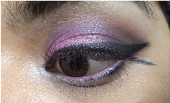 Pink on waterline eye makeup
