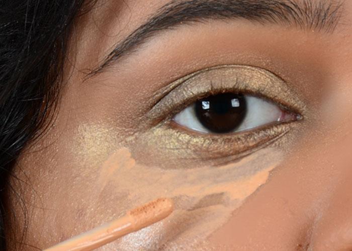 Золотой глаз Макияж учебник-Шаг 5: скрыть тяжелые зоны выпадения осадков