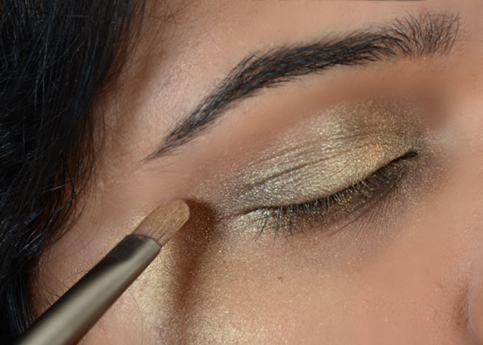 Gold Eye Makeup Tutorial - Step 4: Add Dark Brown Shade
