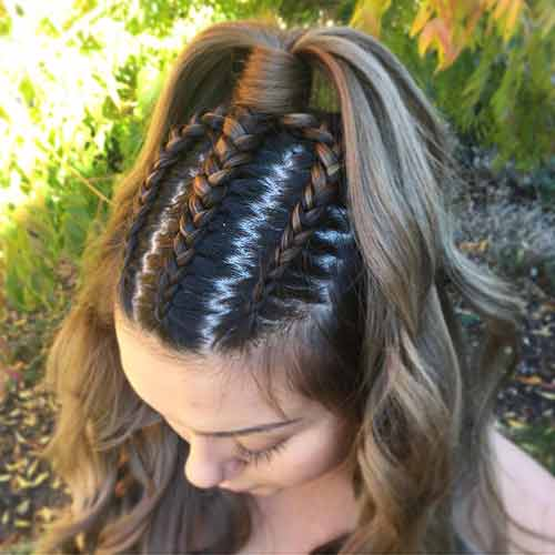 Tri-Dutch Braid Half Updo