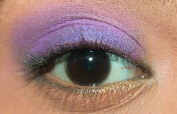 Purple And White Eye Makeup Tutorial - Step 2: Apply Matte Soft Purple Eyeshadow