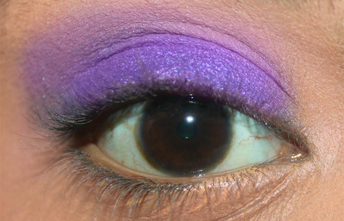 Purple And White Eye Makeup Tutorial - Step 3: Apply Bright Purple Eyeshadow in a Satin Finish