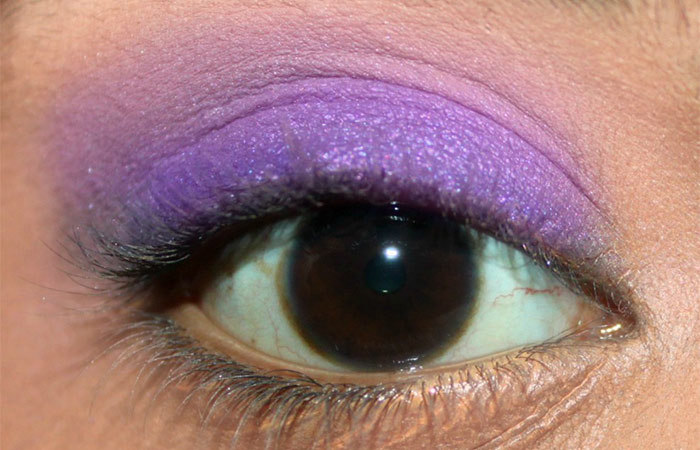 Purple And White Eye Makeup Tutorial - Step 4: Apply Matte Cream Eyeshadow to Crease Area