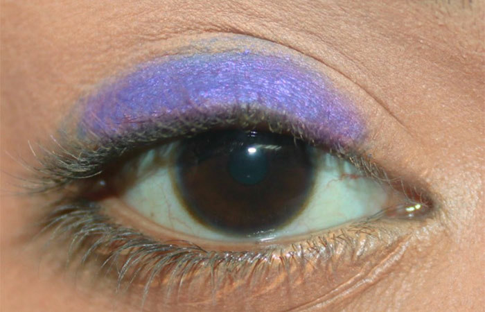 Purple And White Eye Makeup Tutorial - Step 1: Apply Purple Base on Eyelid