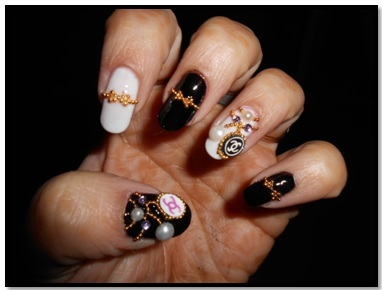 black and white nail art embellishment