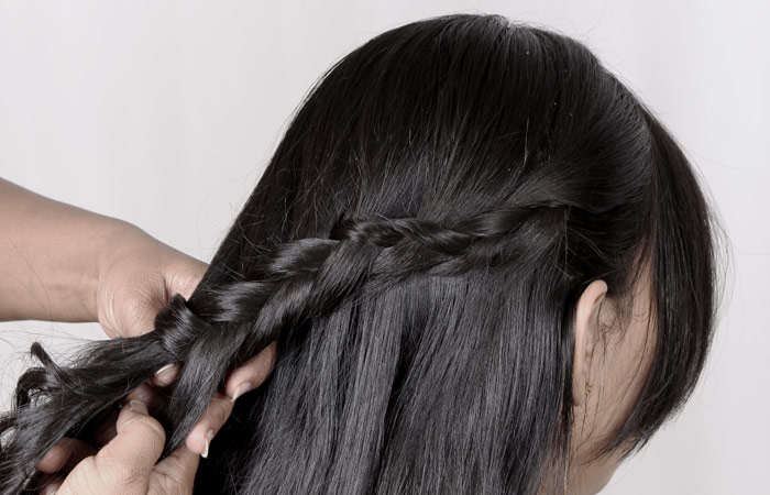 black elastic band and put hair