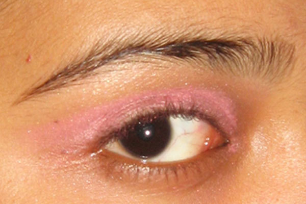 Arabic Eye Makeup - Step 3: Apply Pink Eyeshadow All Over The Lids