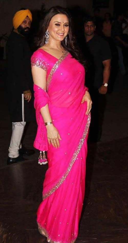 Preity Zinta In Pink Saree